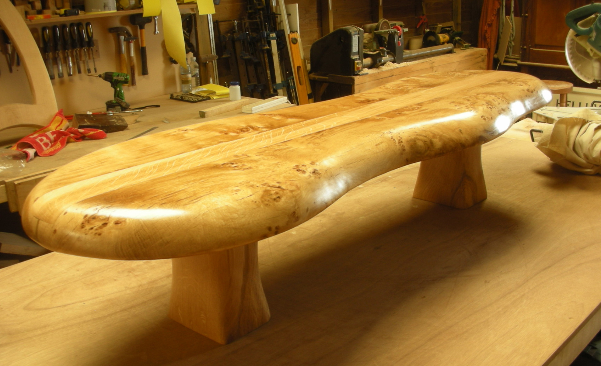 Exceptional Burr Oak Coffee Table With Inlay.